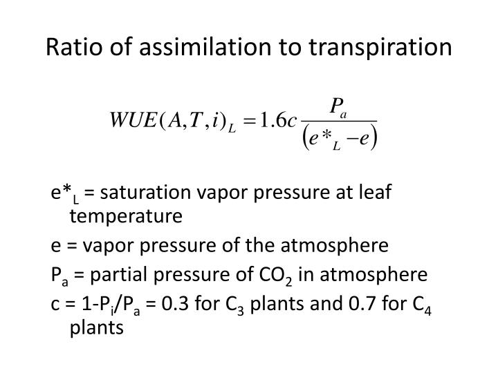 Ratio of assimilation to transpiration