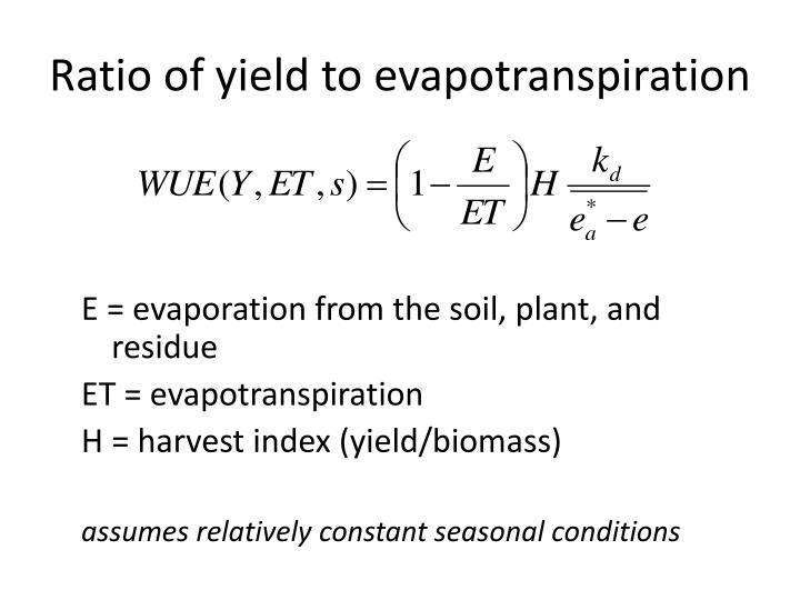 Ratio of yield to evapotranspiration