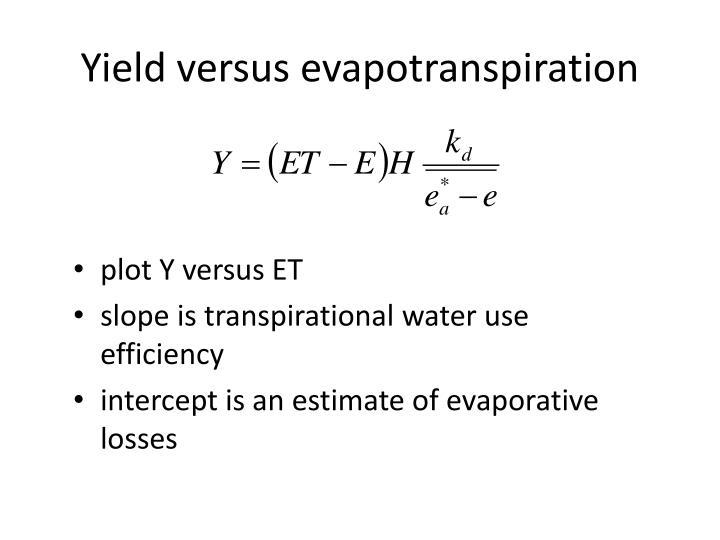 Yield versus evapotranspiration