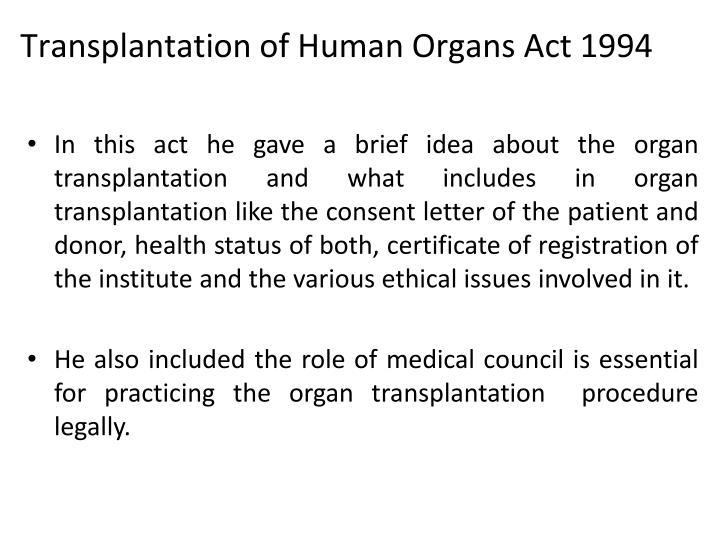 Transplantation of Human Organs Act 1994