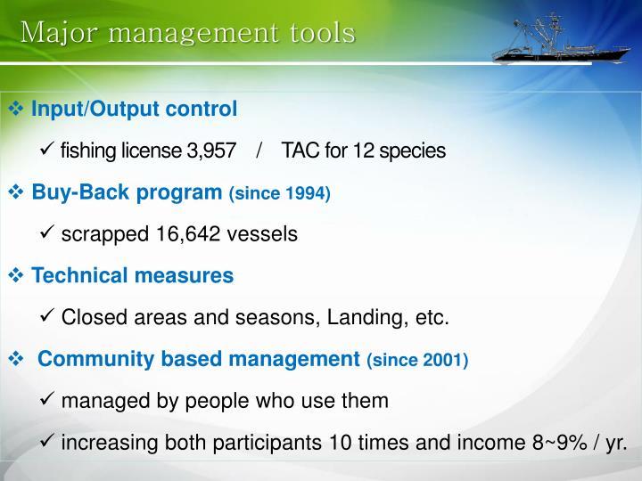 Major management tools