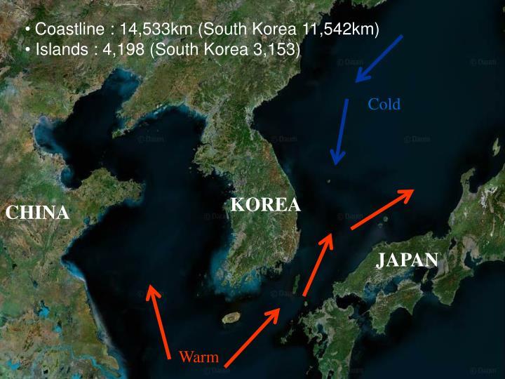 Coastline : 14,533km (South Korea 11,542km)