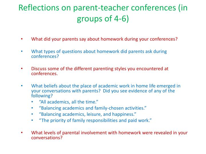 Reflections on parent-teacher conferences (in groups of 4-6)