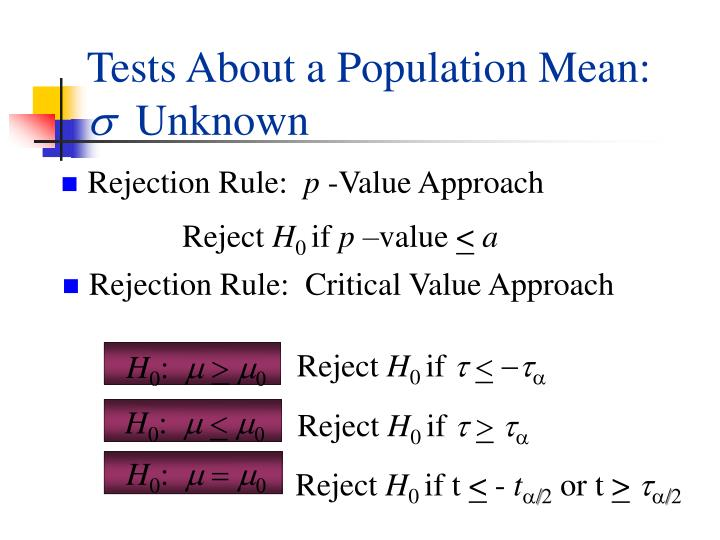 Tests About a Population Mean: