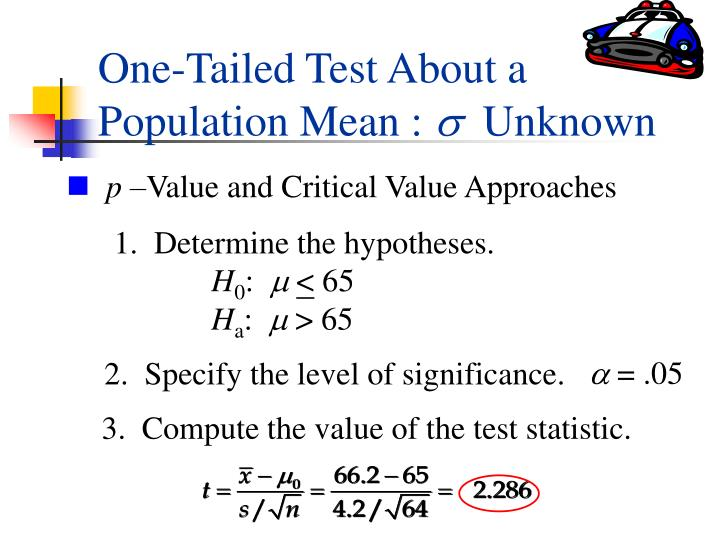One-Tailed Test About a