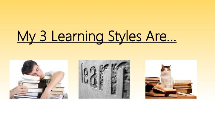 My 3 Learning Styles Are…