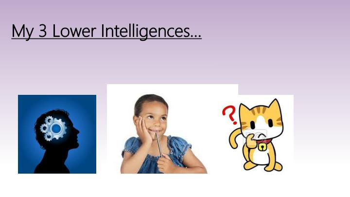 My 3 Lower Intelligences…