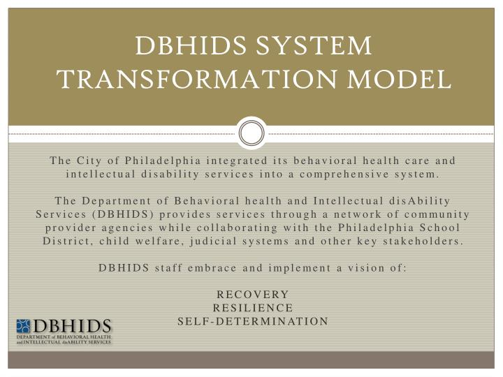 DBHIDS SYSTEM TRANSFORMATION MODEL