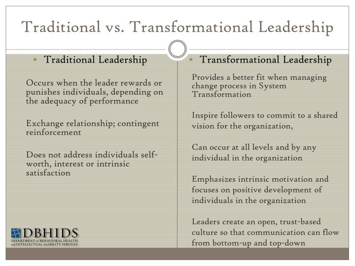 Traditional vs. Transformational Leadership