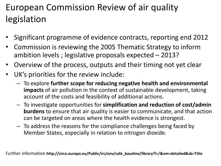 European Commission Review of air quality legislation