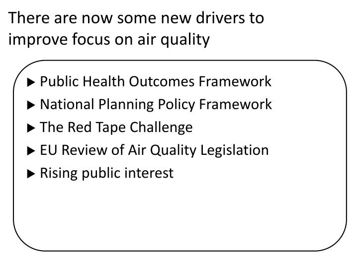 There are now some new drivers to improve focus on air quality