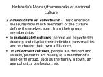 hofstede s modes frameworks of national culture1