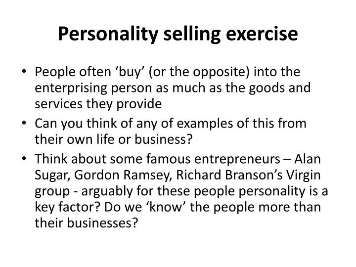 Personality selling exercise