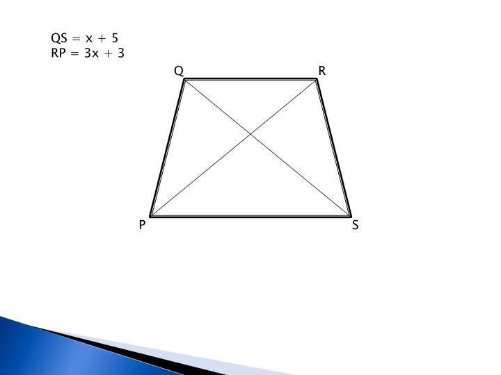 QS = x + 5
