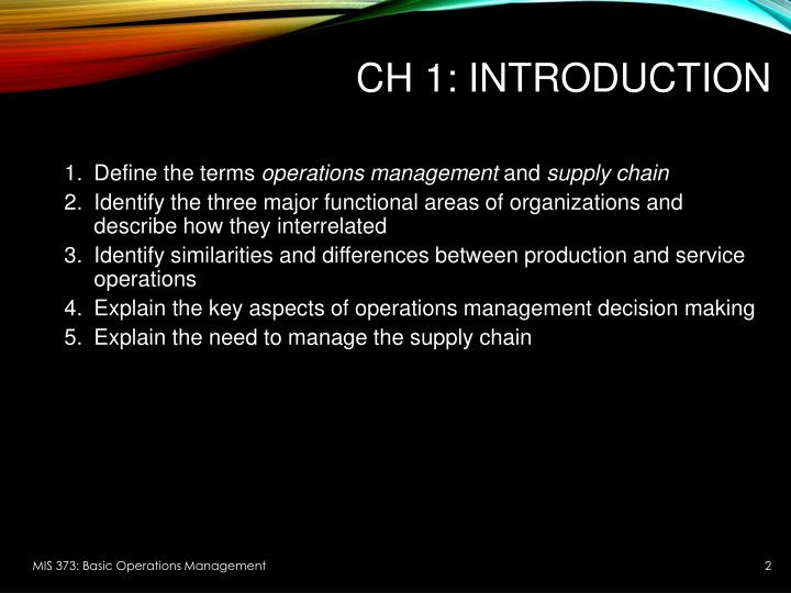 similarities between operations management and supply chain management What's the difference between operations research and operations what are the latest trends in operations management, supply chain management and operations.