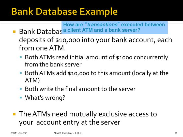 Bank Database Example