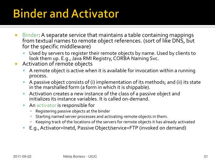 Binder and Activator