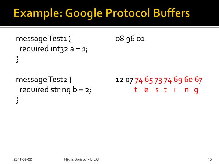 Example: Google Protocol Buffers