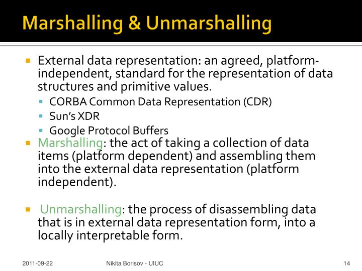 Marshalling & Unmarshalling
