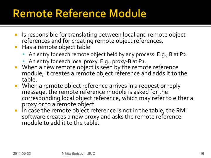 Remote Reference Module