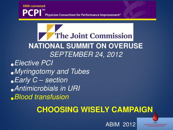 NATIONAL SUMMIT ON OVERUSE