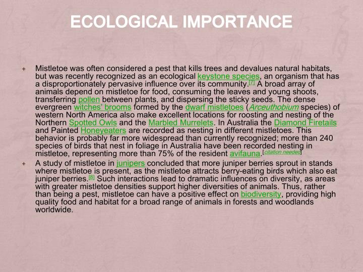 Ecological importance