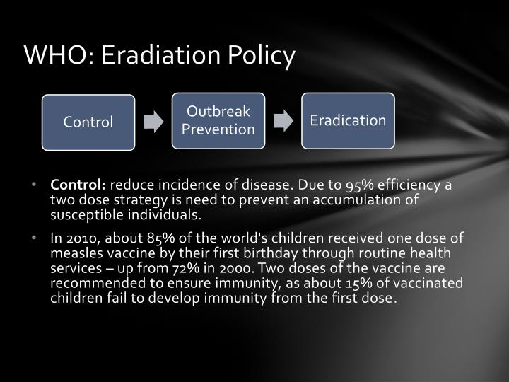 WHO: Eradiation Policy