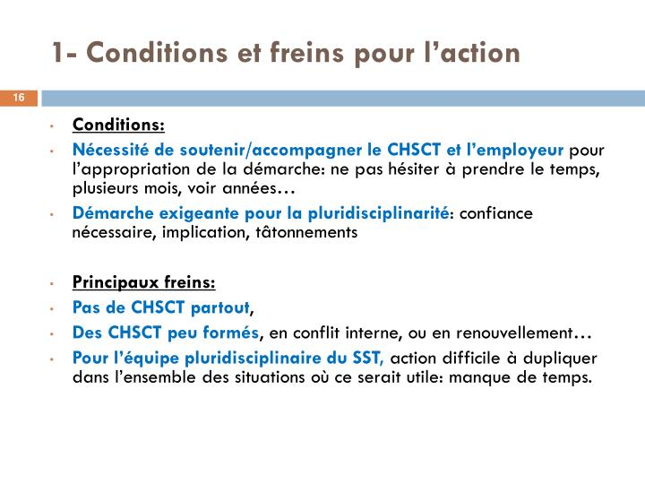 1- Conditions et freins pour l'action