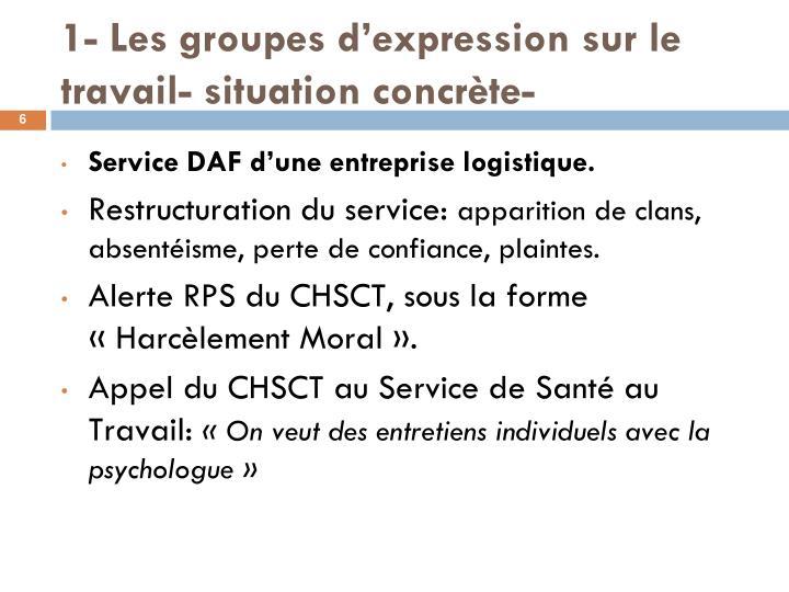 1- Les groupes d'expression sur le travail- situation concrète-