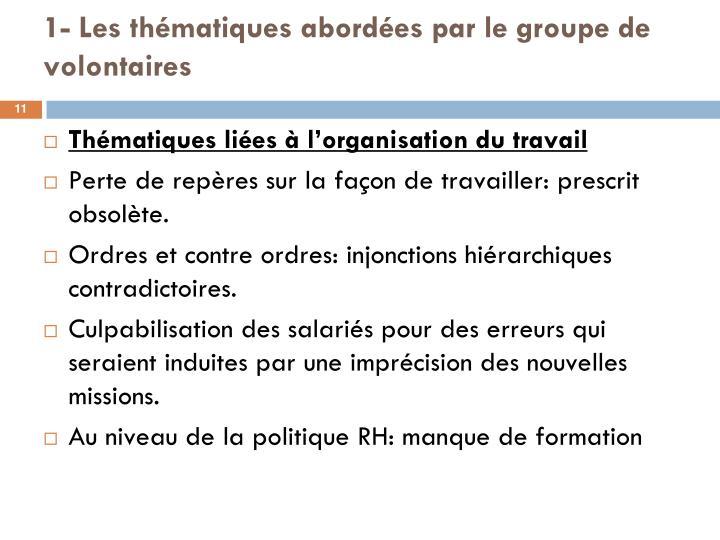 1- Les thématiques abordées par le groupe de volontaires