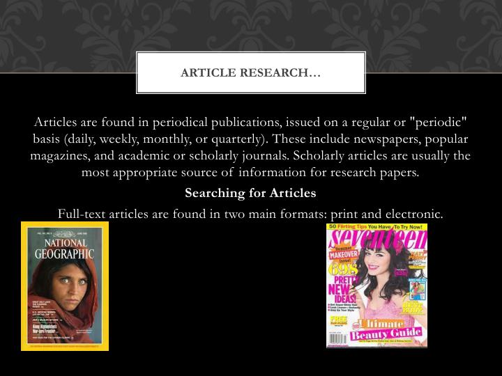 Article Research…