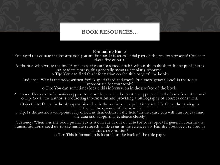 Book resources…