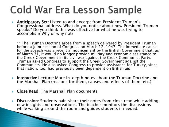 Cold War Era Lesson Sample