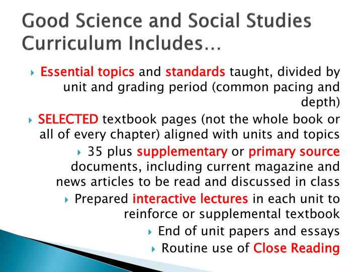 Good Science and Social Studies