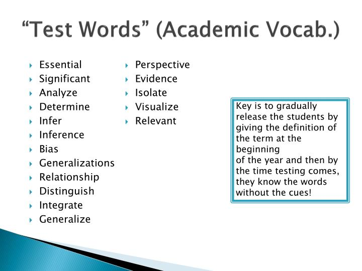 """Test Words"" (Academic Vocab.)"