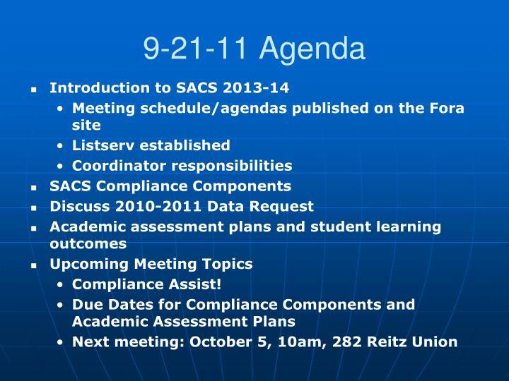 9-21-11 Agenda