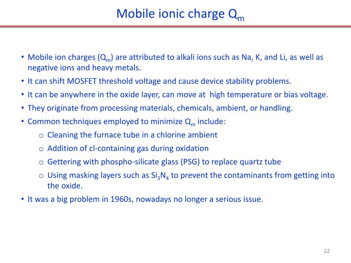 Mobile ionic charge
