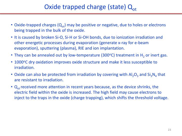 Oxide trapped charge (state)