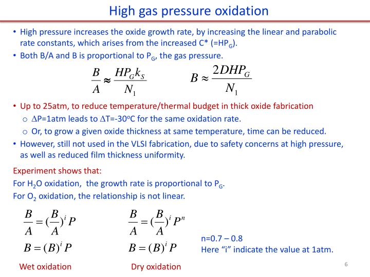 High gas pressure oxidation