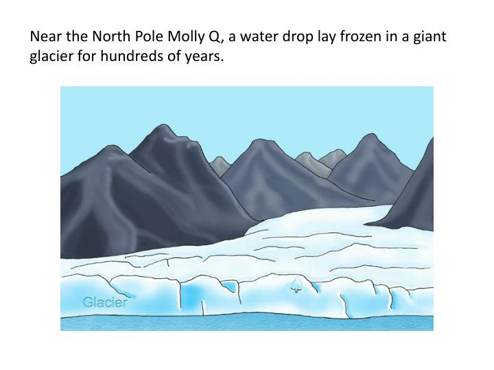 Near the north pole molly q a water drop lay frozen in a giant glacier for hundreds of years