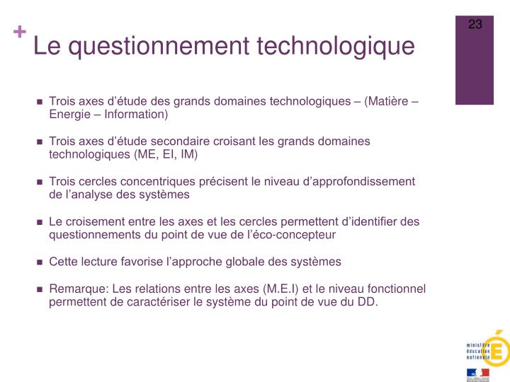 Le questionnement technologique
