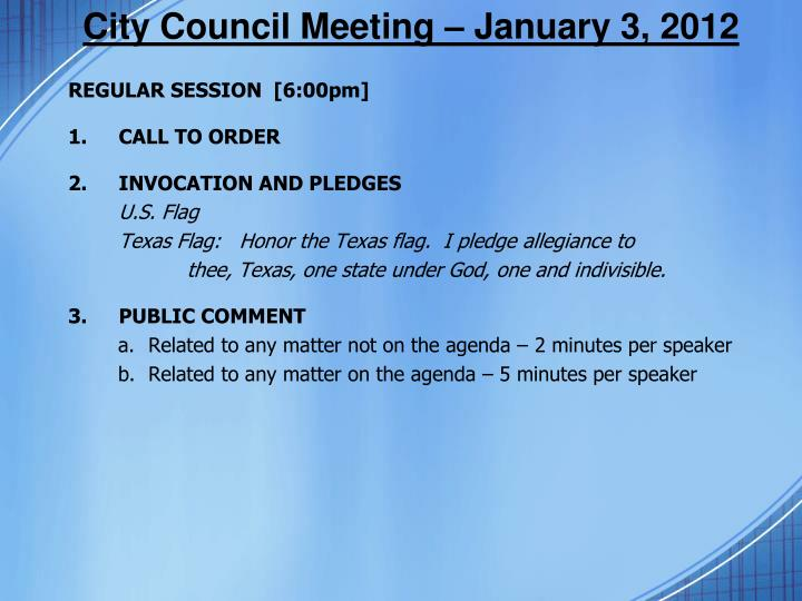 City council meeting january 3 2012