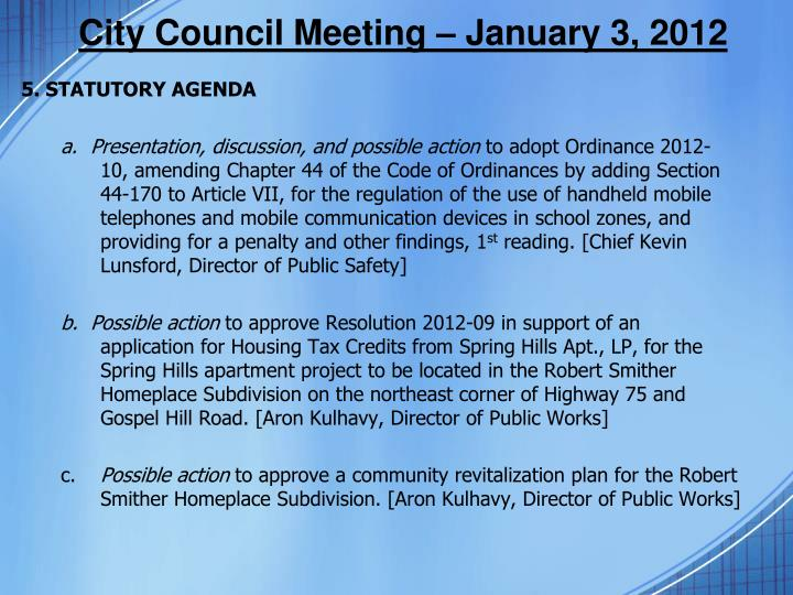 City Council Meeting –