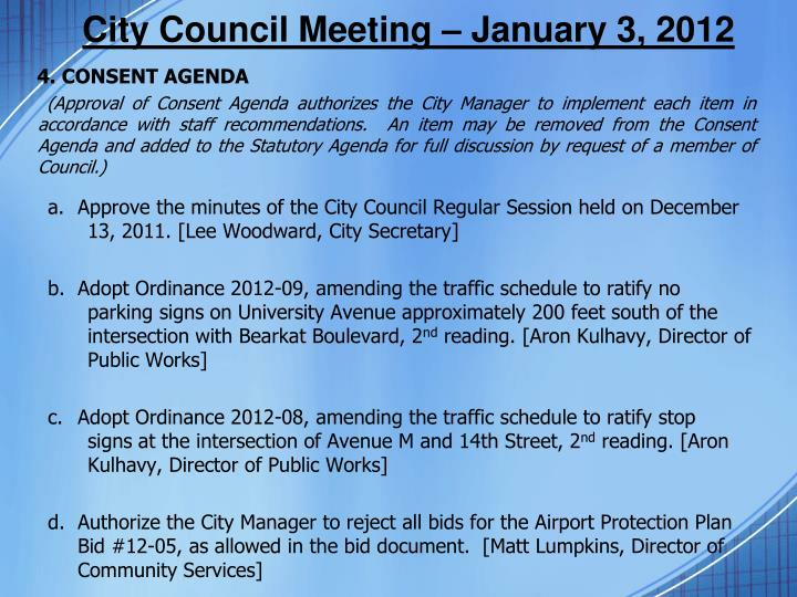 City Council Meeting – January 3, 2012