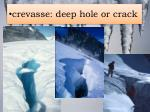 c revasse deep hole or crack