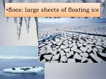 f loes large sheets of floating ice