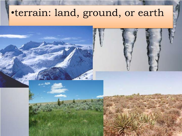 terrain: land, ground, or earth