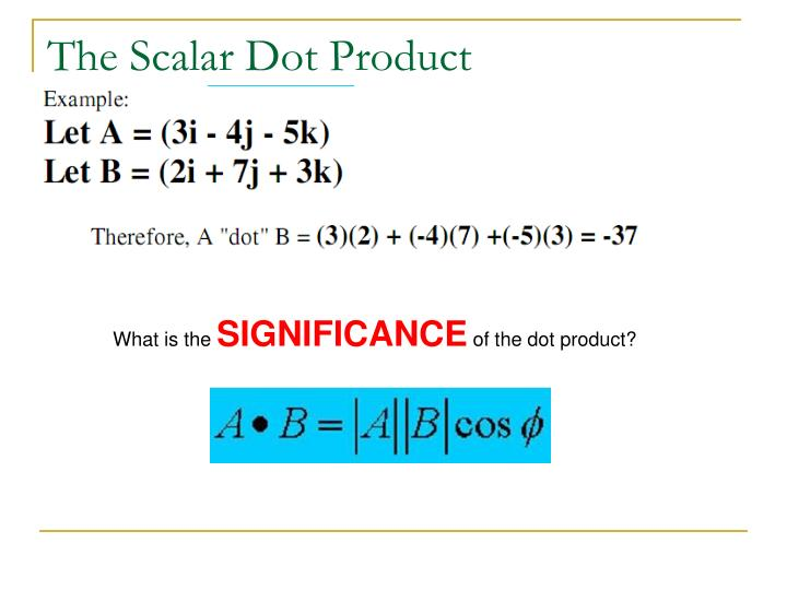 The Scalar Dot Product