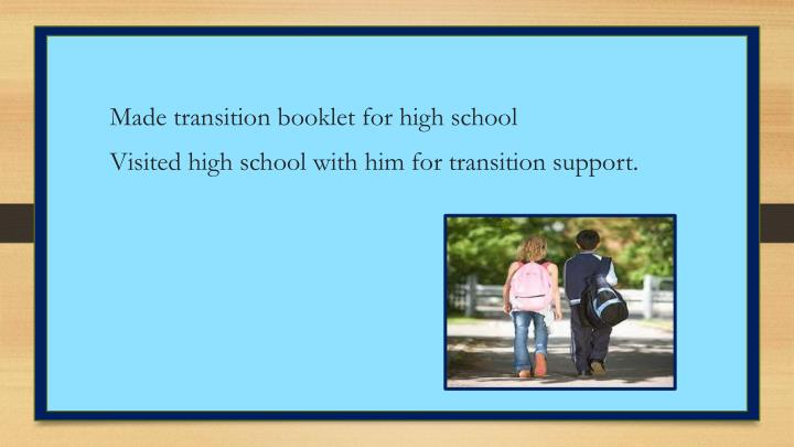 Made transition booklet for high school