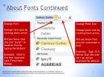 about fonts continued